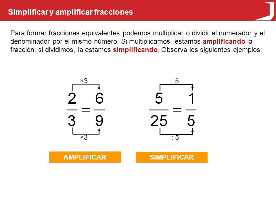 Simplificar y amplificar fracciones Para formar fracciones equivalentes podemos multiplicar o dividir el numerador y el denominador por el mismo número.