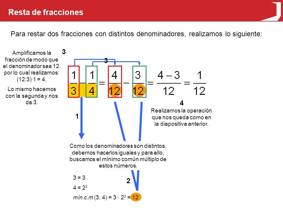 Resta de fracciones Para restar dos fracciones con distintos denominadores, realizamos lo siguiente: 3 = 3 4 = 2 2 mín.c.m (3, 4) = 3 · 2 2 = 12 Como los denominadores son distintos, debemos hacerlos iguales y para ello, buscamos el mínimo común múltiplo de estos números.