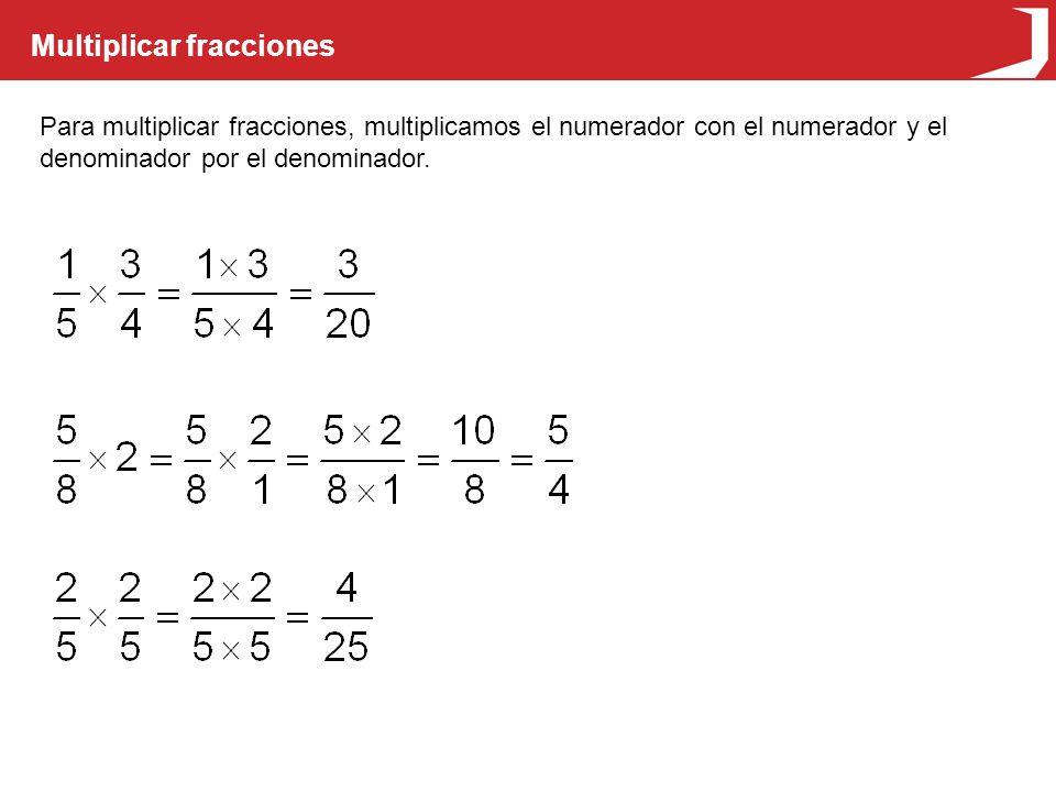 Multiplicar fracciones Para multiplicar fracciones, multiplicamos el numerador con el numerador y el denominador por el denominador.