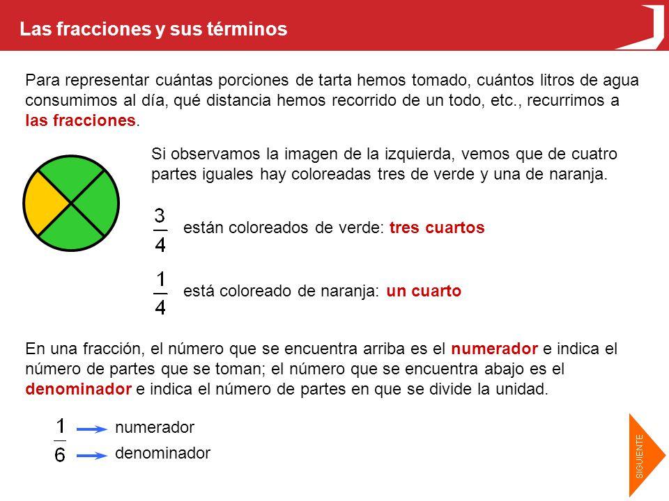 Las fracciones y sus términos Para leer las fracciones, se lee primero el numerador y después el denominador.