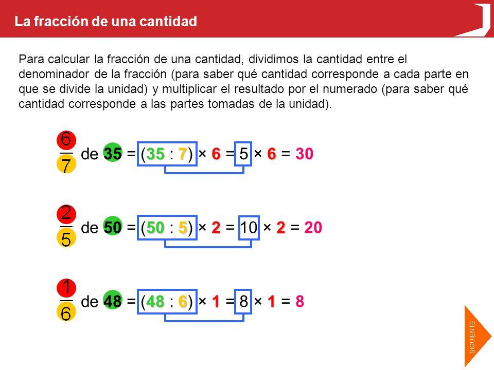La fracción de una cantidad Para calcular la fracción de una cantidad, dividimos la cantidad entre el denominador de la fracción (para saber qué cantidad corresponde a cada parte en que se divide la unidad) y multiplicar el resultado por el numerado (para saber qué cantidad corresponde a las partes tomadas de la unidad).