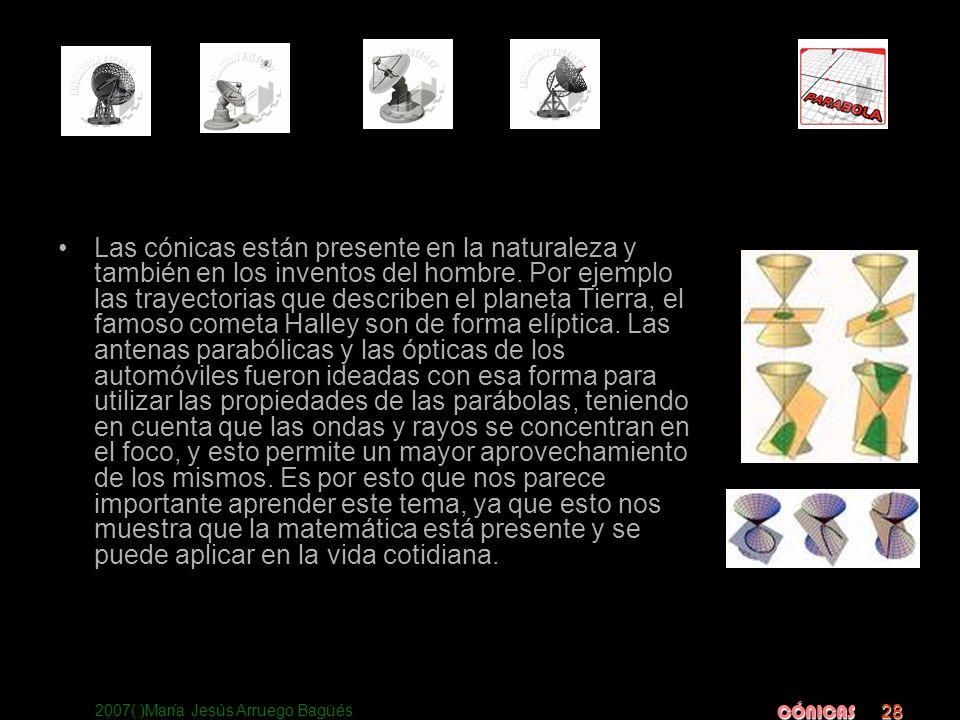 2007(:)María Jesús Arruego Bagüés CÓNICAS 28 Las cónicas están presente en la naturaleza y también en los inventos del hombre. Por ejemplo las trayect