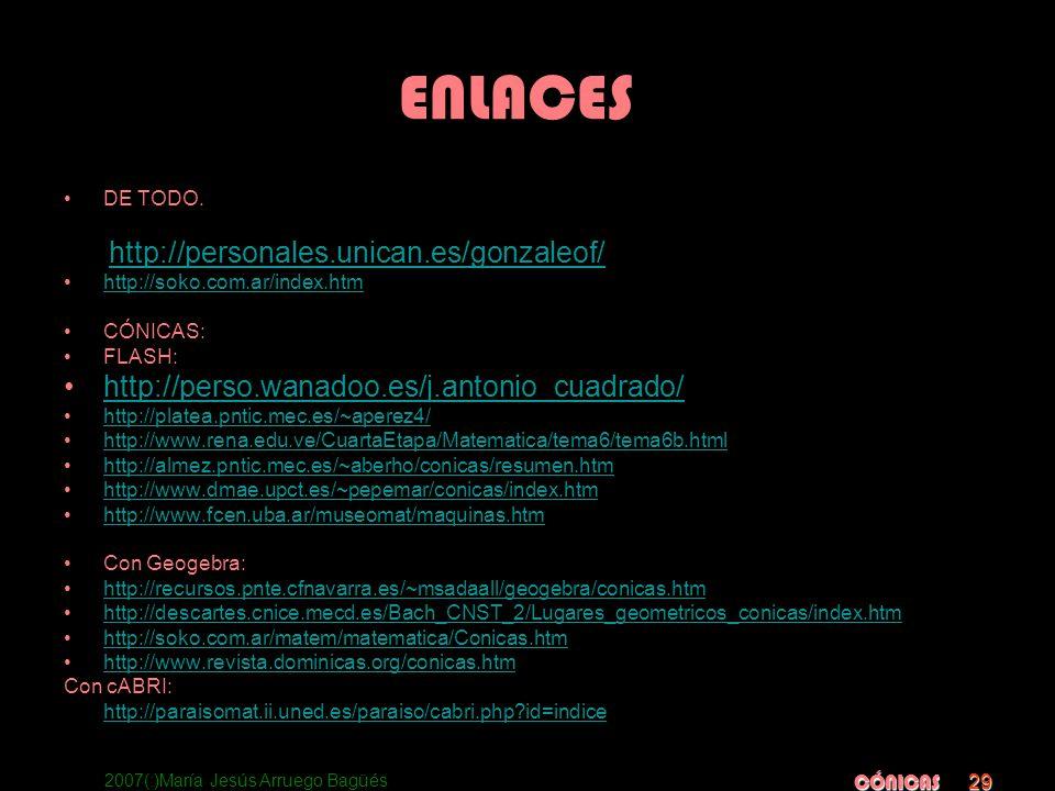 2007(:)María Jesús Arruego Bagüés CÓNICAS 29 ENLACES DE TODO. TEORIA Y EJERCICIOS: http://personales.unican.es/gonzaleof/ http://soko.com.ar/index.htm