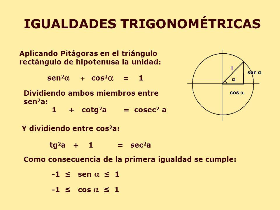 Aplicando Pitágoras en el triángulo rectángulo de hipotenusa la unidad: sen 2cos 2 = 1 IGUALDADES TRIGONOMÉTRICAS Como consecuencia de la primera igua