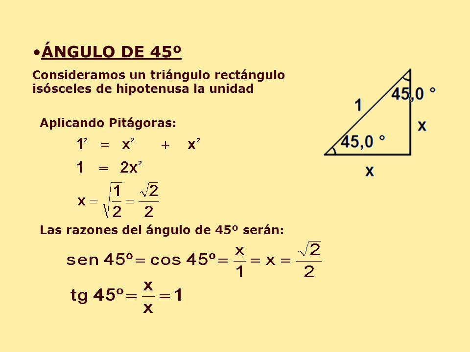 ÁNGULO DE 45º Consideramos un triángulo rectángulo isósceles de hipotenusa la unidad Aplicando Pitágoras: Las razones del ángulo de 45º serán: