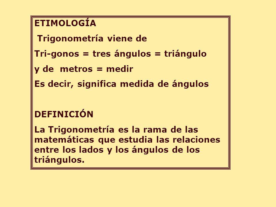 ETIMOLOGÍA Trigonometría viene de Tri-gonos = tres ángulos = triángulo y de metros = medir Es decir, significa medida de ángulos DEFINICIÓN La Trigono
