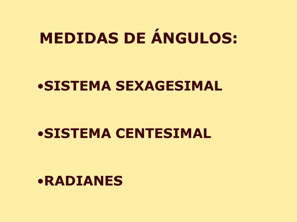 MEDIDAS DE ÁNGULOS: SISTEMA SEXAGESIMAL SISTEMA CENTESIMAL RADIANES