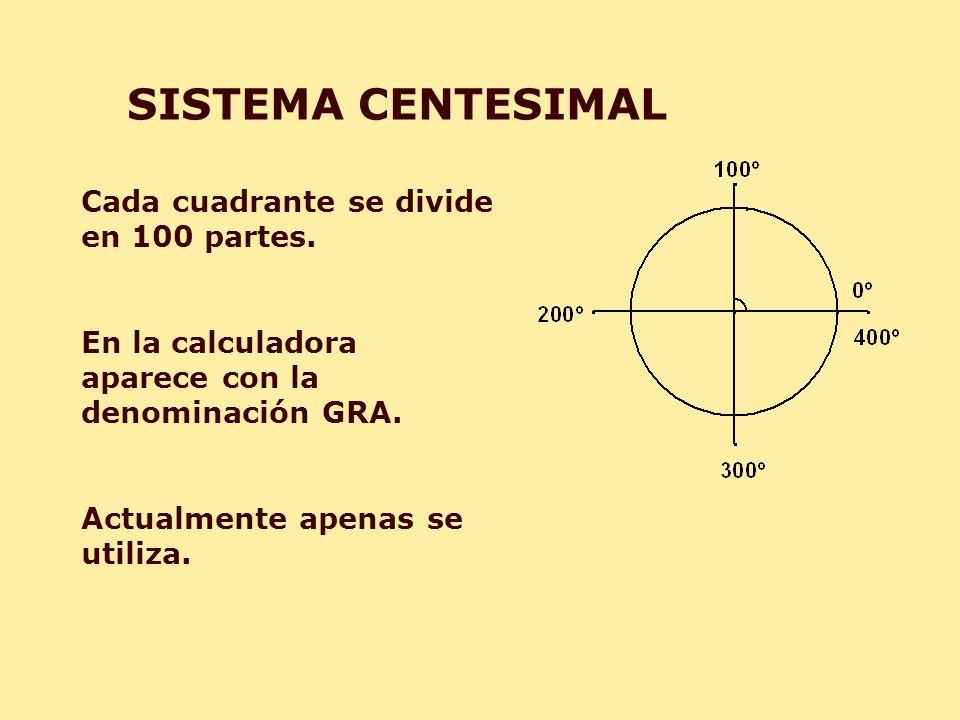 SISTEMA CENTESIMAL Cada cuadrante se divide en 100 partes. En la calculadora aparece con la denominación GRA. Actualmente apenas se utiliza.
