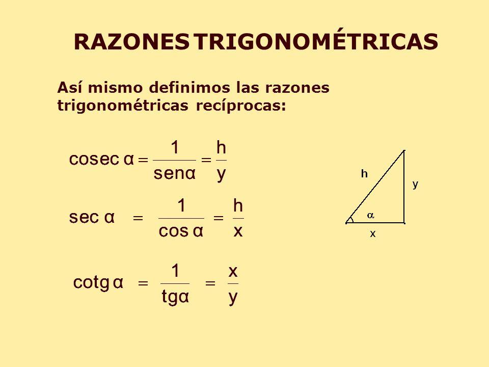 RAZONES TRIGONOMÉTRICAS Así mismo definimos las razones trigonométricas recíprocas: