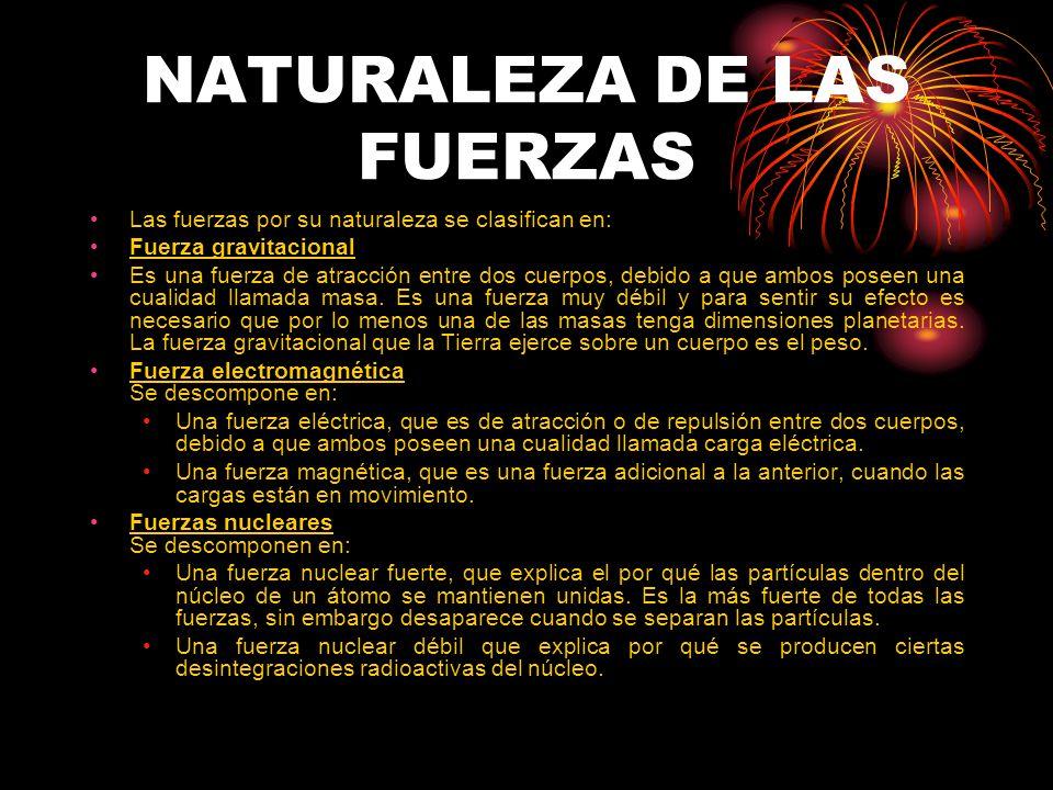 NATURALEZA DE LAS FUERZAS Las fuerzas por su naturaleza se clasifican en: Fuerza gravitacional Es una fuerza de atracción entre dos cuerpos, debido a