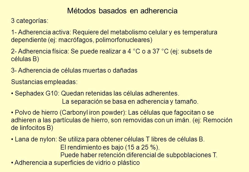 Métodos basados en adherencia 3 categorías: 1- Adherencia activa: Requiere del metabolismo celular y es temperatura dependiente (ej: macrófagos, polimorfonucleares) 2- Adherencia física: Se puede realizar a 4 °C o a 37 °C (ej: subsets de células B) 3- Adherencia de células muertas o dañadas Sustancias empleadas: Sephadex G10: Quedan retenidas las células adherentes.