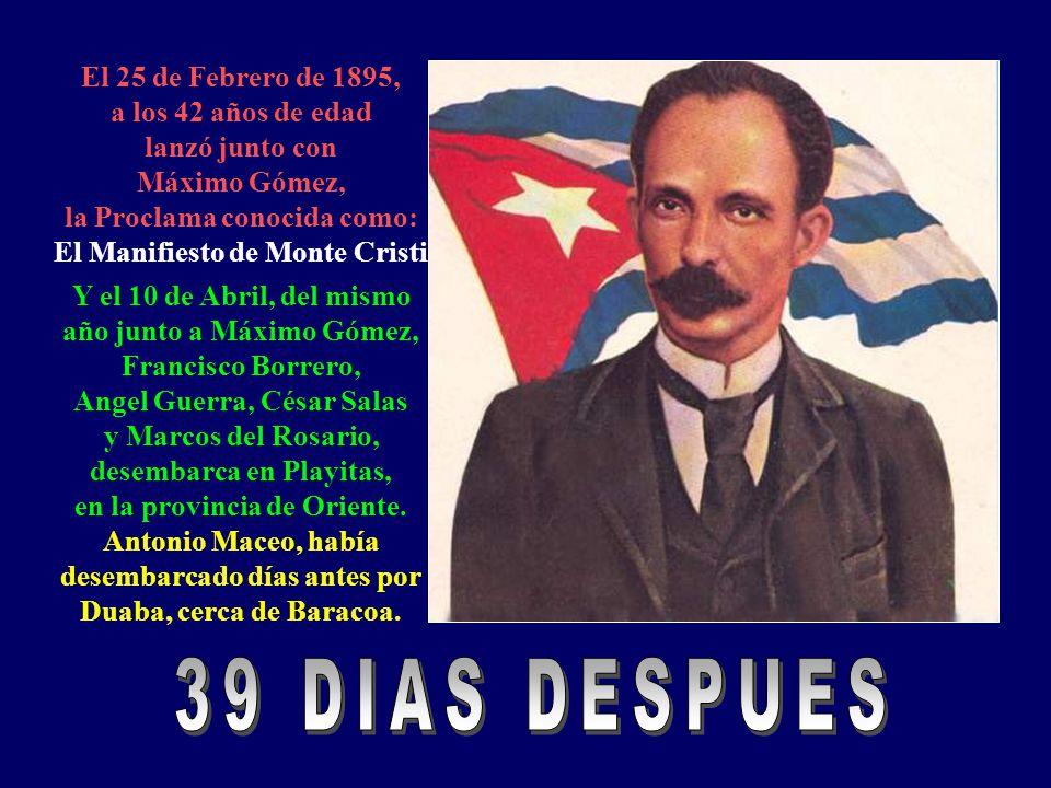 En el 1892, a los 39 años empieza a publicar en New york, el periódico Patria. En el mismo año se entrevista con Máximo Gómez en Rep. Dominica Y en el