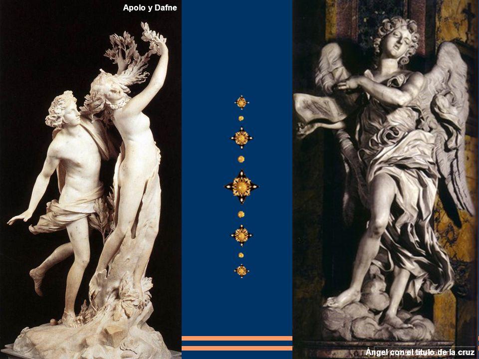 Ángel con el título de la cruz Apolo y Dafne