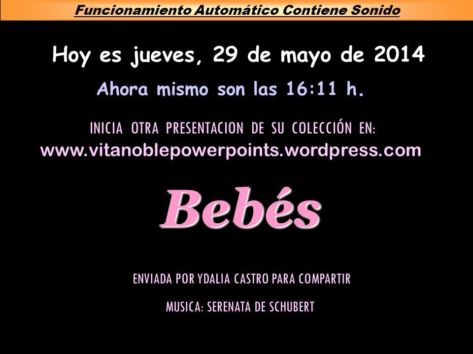 Bebés Hoy es jueves, 29 de mayo de 2014 Funcionamiento Automático Contiene Sonido Ahora mismo son las 16:13 h.