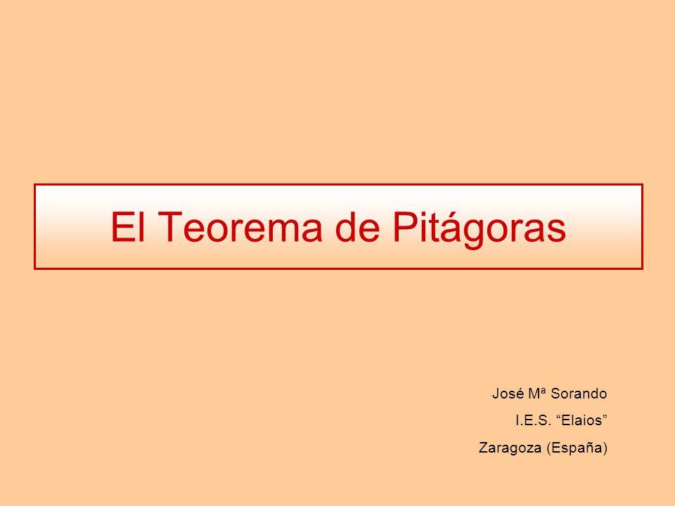 El Teorema de Pitágoras José Mª Sorando I.E.S. Elaios Zaragoza (España)