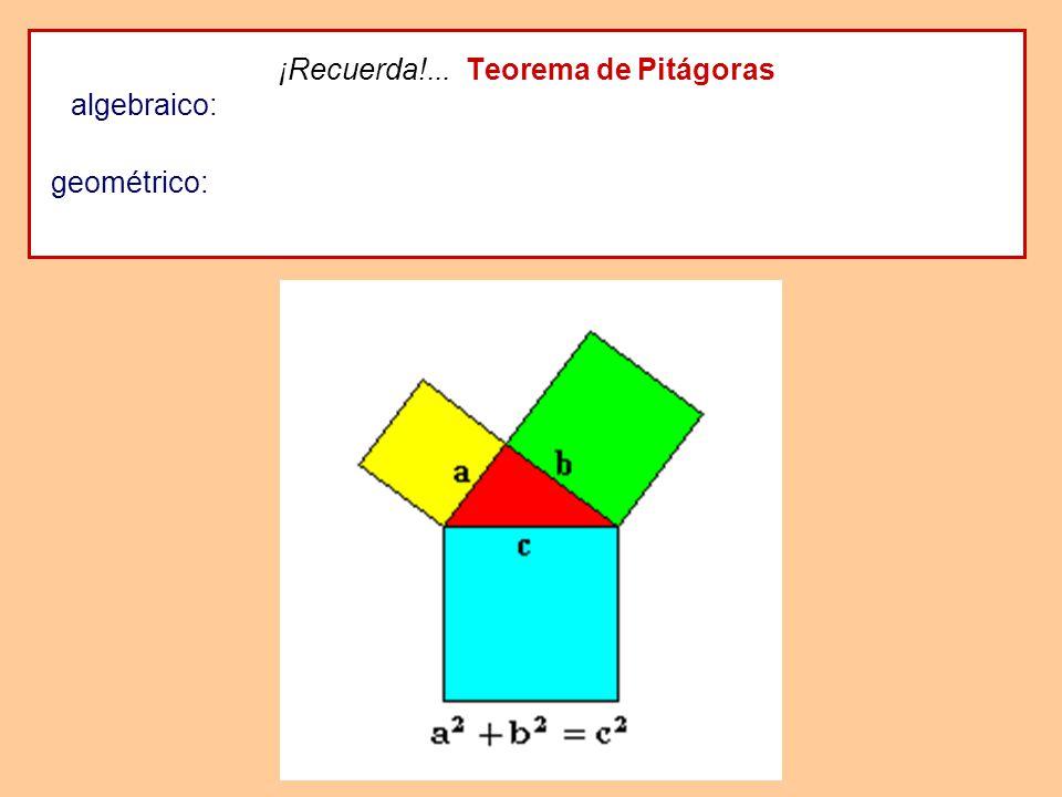 ¡Recuerda!... Teorema de Pitágoras algebraico: En todo triángulo rectángulo, el cuadrado de la hipotenusa es igual a la suma de los cuadrados de los c