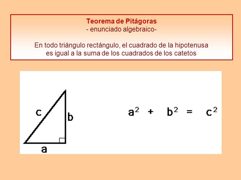Teorema de Pitágoras - enunciado geométrico- En todo triángulo rectángulo, el área del cuadrado construido sobre la hipotenusa es igual a la suma de las áreas de los cuadrados construidos sobre los catetos Los dos enunciados son equivalentes Hoy se conocen unas 200 demostraciones diferentes de este teorema