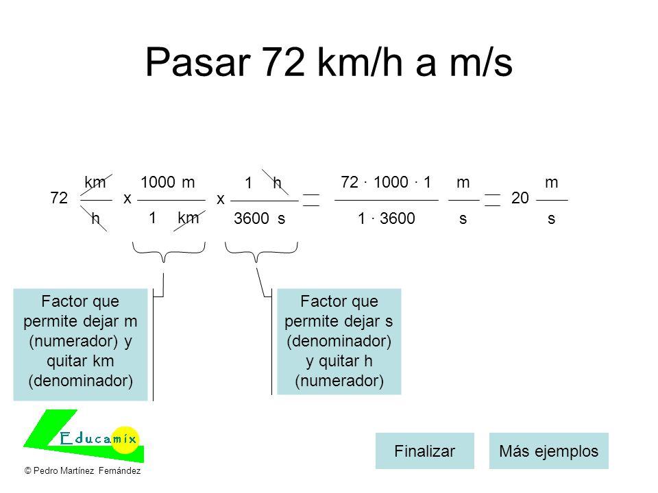 Pasar 72 km/h a m/s 72x m km 1000 1 Más ejemplosFinalizar km h x h s 1 3600 72 · 1000 · 1 1 · 3600 m s 20 m s Factor que permite dejar s (denominador)