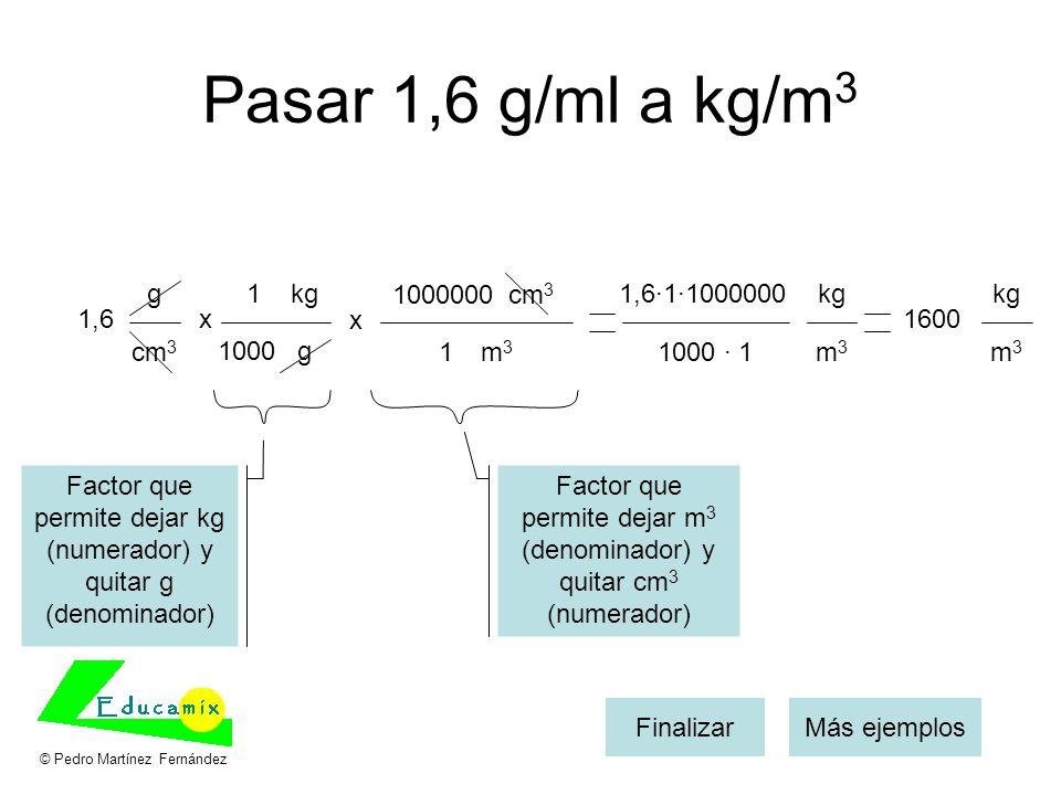 Pasar 1,6 g/ml a kg/m 3 1,6x kg g 1 1000 Más ejemplosFinalizar g cm 3 x m3m3 1000000 1 1,6·1·1000000 1000 · 1 kg m3m3 1600 kg m3m3 Factor que permite