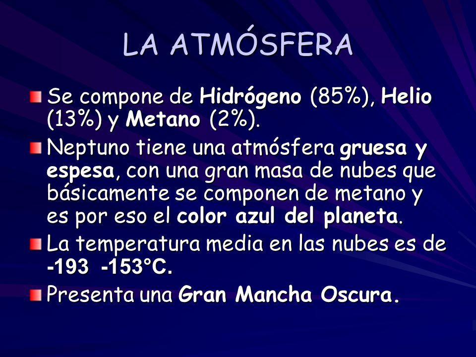 LA ATMÓSFERA Se compone de Hidrógeno (85%), Helio (13%) y Metano (2%). Neptuno tiene una atmósfera gruesa y espesa, con una gran masa de nubes que bás