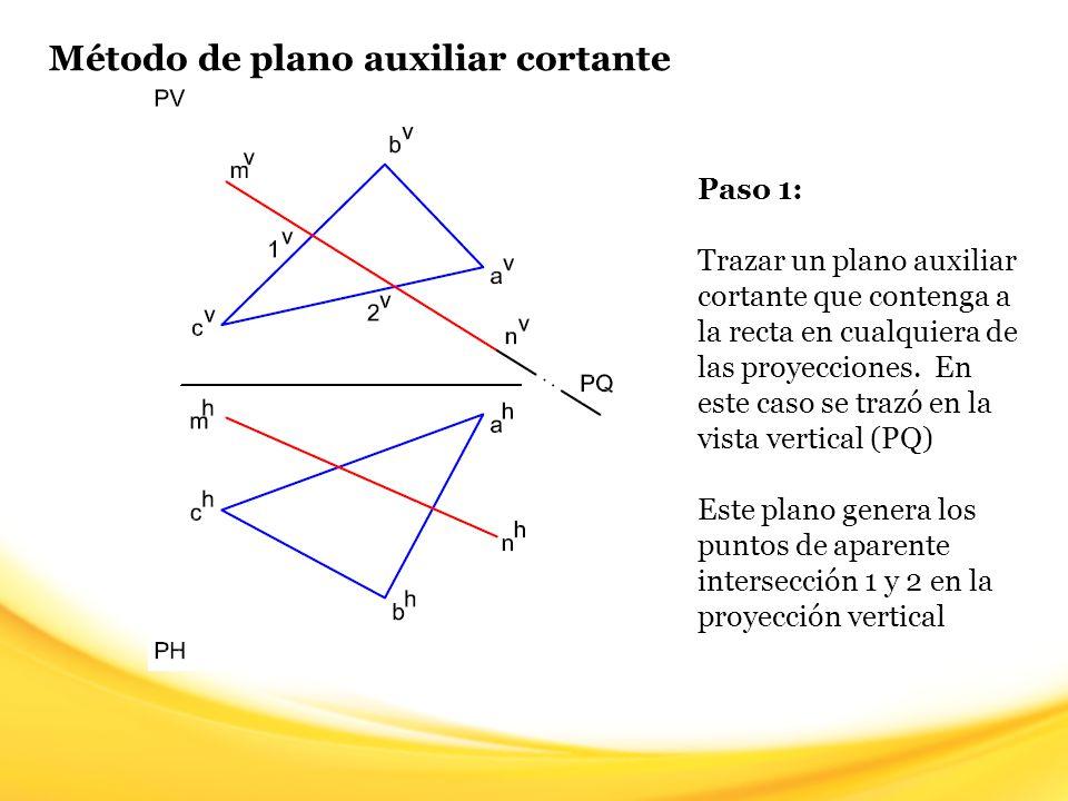 Método de plano auxiliar cortante Paso 1: Trazar un plano auxiliar cortante que contenga a la recta en cualquiera de las proyecciones. En este caso se