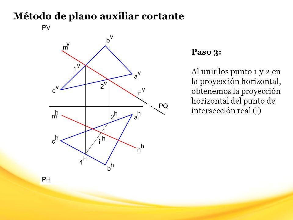 Método de plano auxiliar cortante Paso 3: Al unir los punto 1 y 2 en la proyección horizontal, obtenemos la proyección horizontal del punto de interse