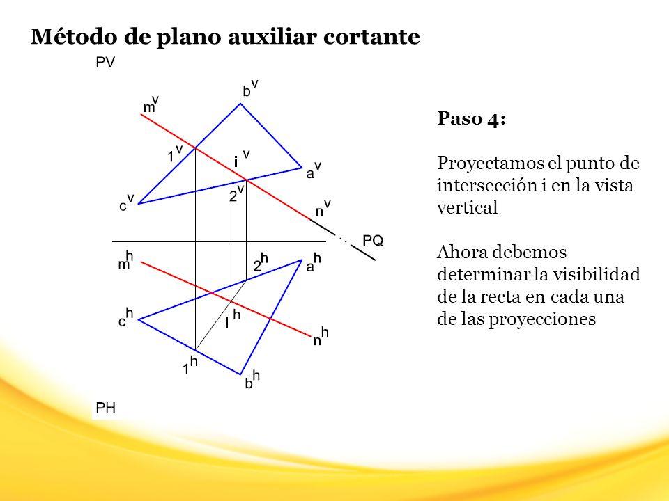 Método de plano auxiliar cortante Paso 5: Para determinar la visibilidad de la recta en la proyección horizontal, seleccionamos un punto de aparente intersección entre la recta MN y el plano ABC y trazamos una línea imaginaria hacia la vista vertical (línea verde) El punto de partida de la línea imaginaria pertenece a la recta MN y a la recta AB.