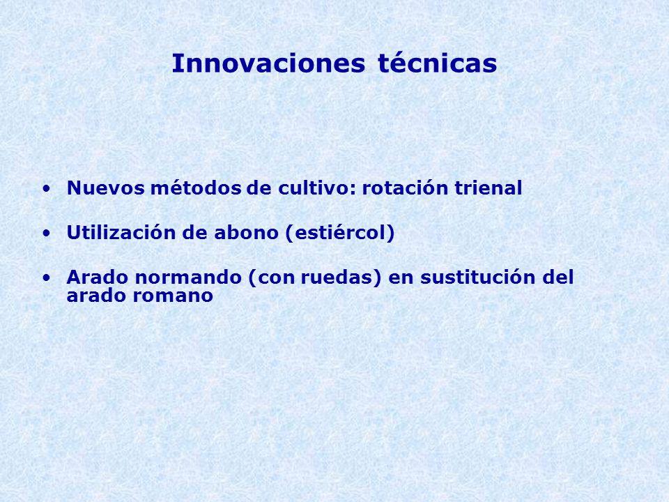Innovaciones técnicas Nuevos métodos de cultivo: rotación trienal Utilización de abono (estiércol) Arado normando (con ruedas) en sustitución del arado romano