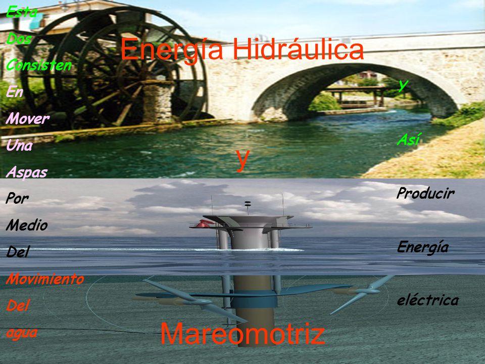 Energía Hidráulica y Mareomotriz Esta Dos Consisten En Mover Una Aspas Por Medio Del Movimiento Del agua Y Así Producir Energía eléctrica