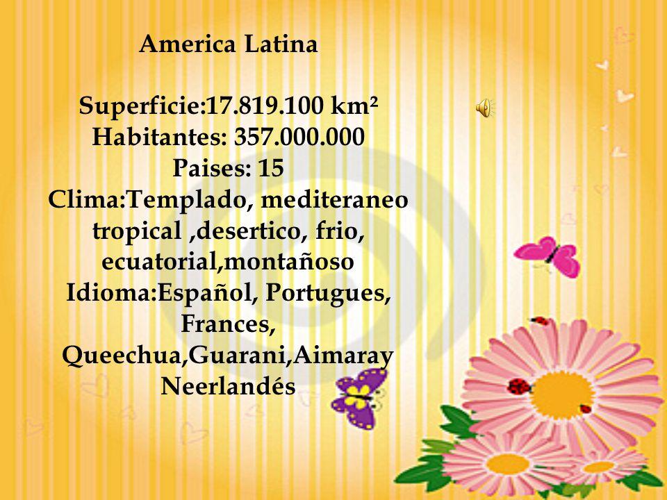 America Latina Superficie:17.819.100 km² Habitantes: 357.000.000 Paises: 15 Clima:Templado, mediteraneo tropical,desertico, frio, ecuatorial,montañoso