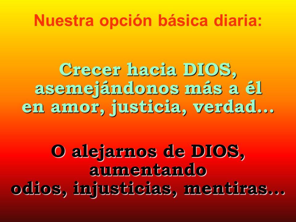 Nuestra opción básica diaria: Crecer hacia DIOS, asemejándonos más a él en amor, justicia, verdad… O alejarnos de DIOS, aumentando odios, injusticias,