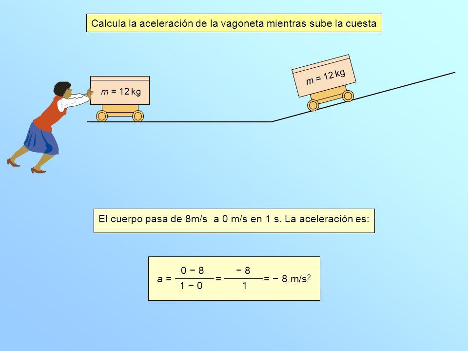 Calcula la aceleración de la vagoneta mientras sube la cuesta El cuerpo pasa de 8m/s a 0 m/s en 1 s.
