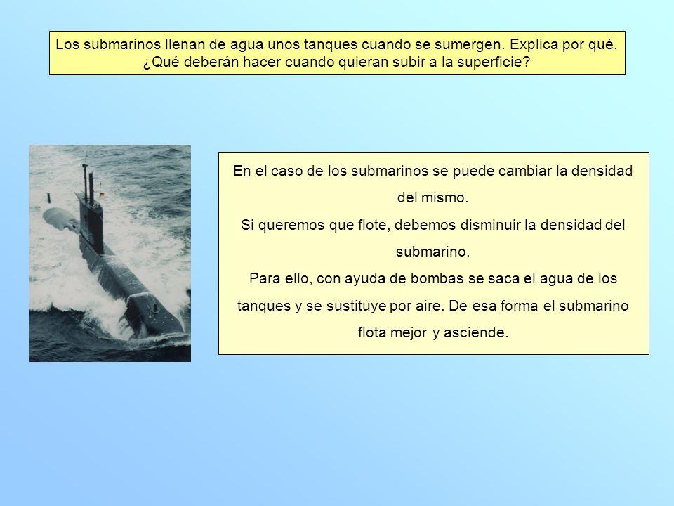 En el caso de los submarinos se puede cambiar la densidad del mismo.