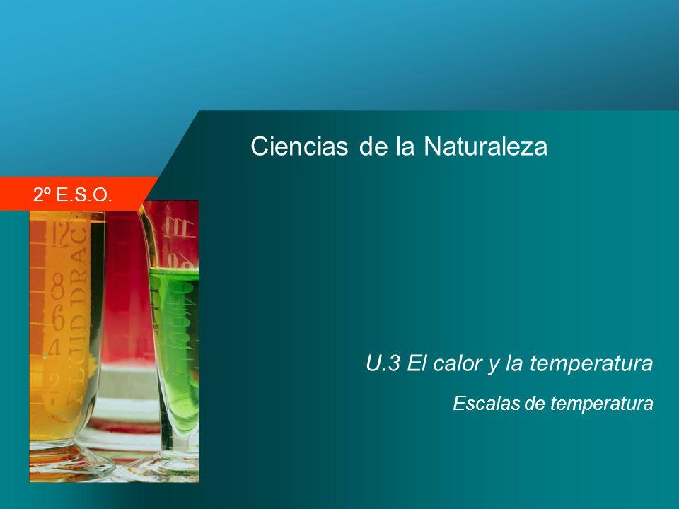 2º E.S.O. Ciencias de la Naturaleza U.3 El calor y la temperatura Escalas de temperatura