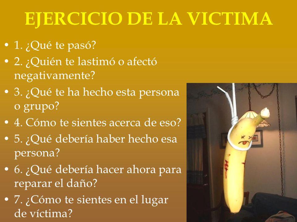 EJERCICIO DE LA VICTIMA 1. ¿Qué te pasó? 2. ¿Quién te lastimó o afectó negativamente? 3. ¿Qué te ha hecho esta persona o grupo? 4. Cómo te sientes ace