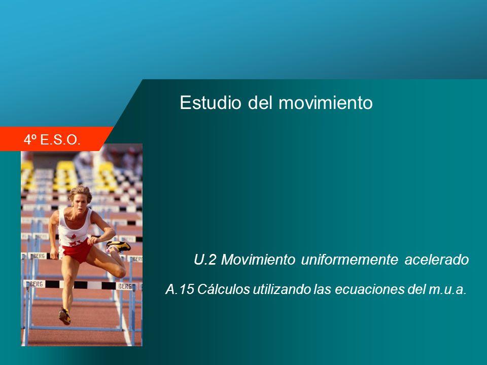 4º E.S.O. Estudio del movimiento U.2 Movimiento uniformemente acelerado A.15 Cálculos utilizando las ecuaciones del m.u.a.