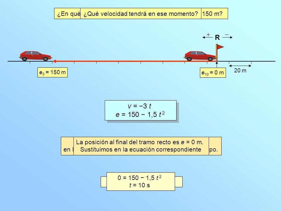 20 m e 0 = 150 m v = 3 t e = 150 1,5 t 2 v = 3 t e = 150 1,5 t 2 ¿En qué instante llega el coche al final del tramo de 150 m? R ¿Qué velocidad tendrá