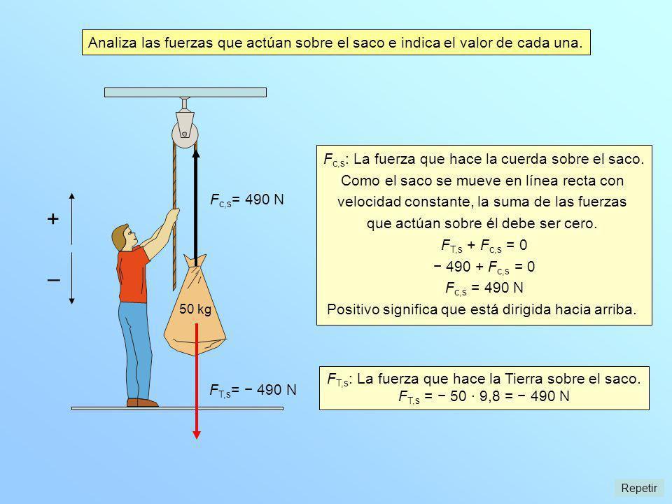 Analiza las fuerzas que actúan sobre el saco e indica el valor de cada una. F T,s = 490 N F T,s : La fuerza que hace la Tierra sobre el saco. F T,s =
