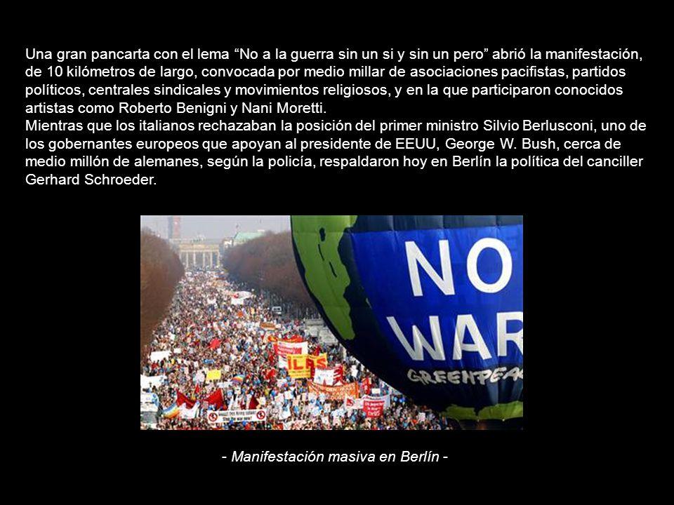 Una ola de pacifismo recorre el mundo ante los vientos de guerra en Irak (15/02/2003) Millones de personas salieron hoy a las calles de centenares de