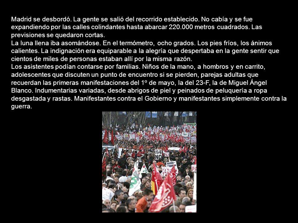 Dos millones de personas contra la guerra en Madrid y Barcelona (16/02/2003) La amenaza de una guerra en Irak y el apoyo del Gobierno español al posib