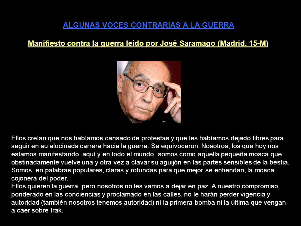 http://www.youtube.com/watch?v=9OM4UMpNecE Javier Couso - World Against War Conference Dec 1 2007