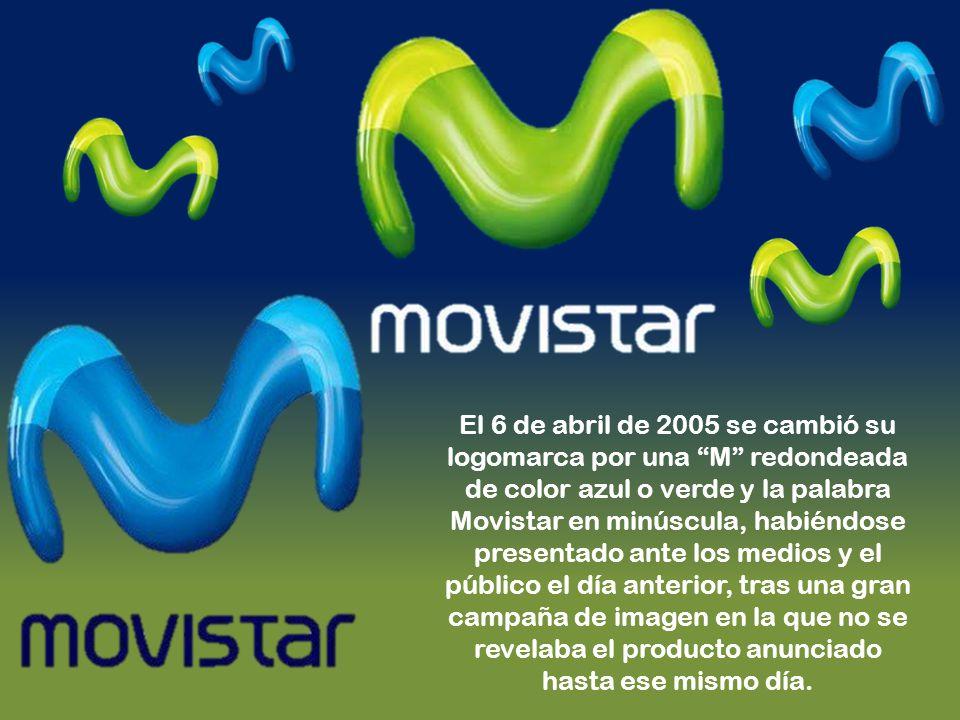 El 6 de abril de 2005 se cambió su logomarca por una M redondeada de color azul o verde y la palabra Movistar en minúscula, habiéndose presentado ante