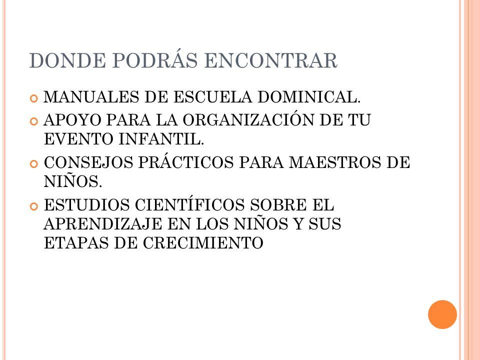 DONDE PODRÁS ENCONTRAR MANUALES DE ESCUELA DOMINICAL.