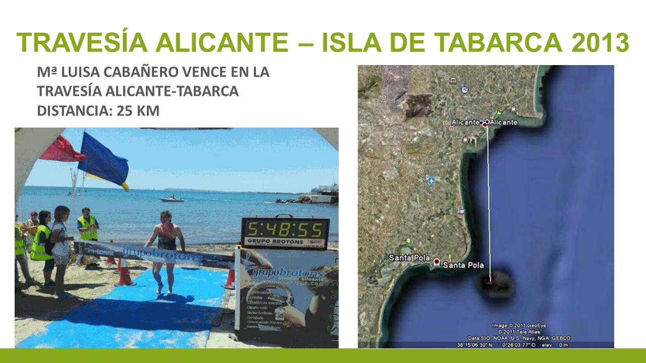 TRAVESÍA ALICANTE – ISLA DE TABARCA 2013 Mª LUISA CABAÑERO VENCE EN LA TRAVESÍA ALICANTE-TABARCA DISTANCIA: 25 KM