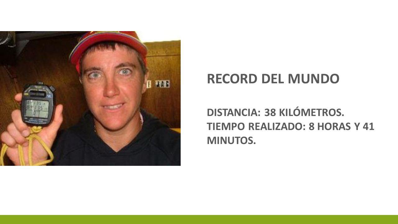 RECORD DEL MUNDO DISTANCIA: 38 KILÓMETROS. TIEMPO REALIZADO: 8 HORAS Y 41 MINUTOS.