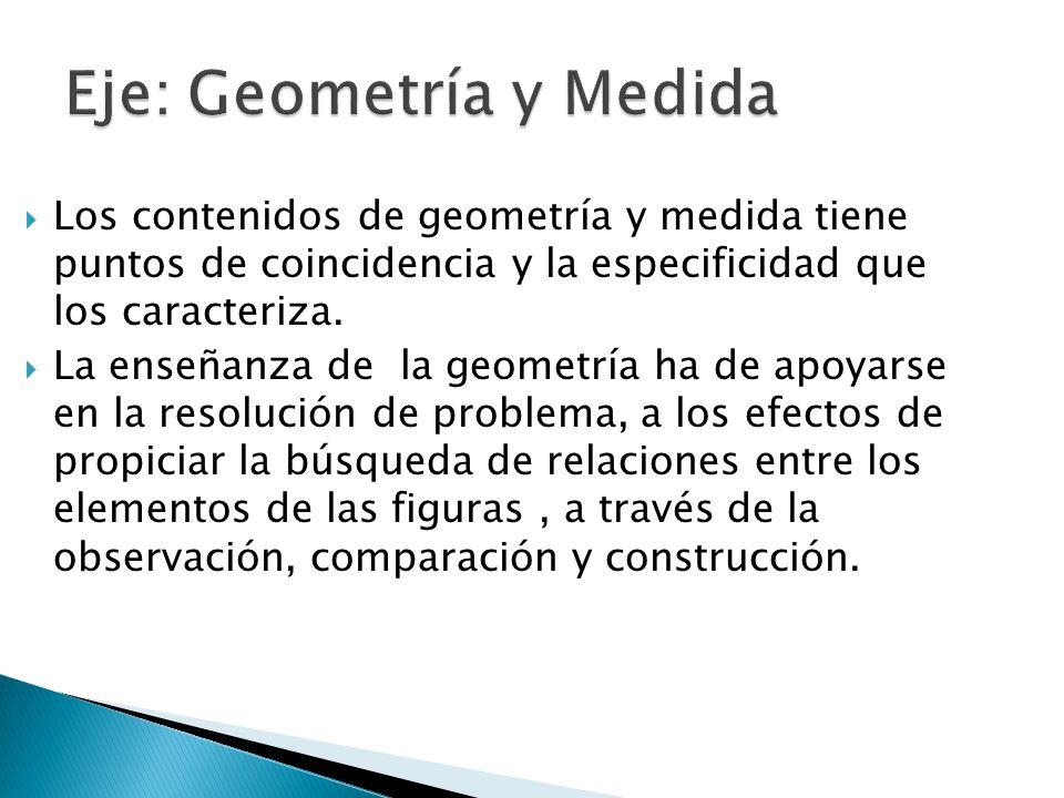Los contenidos de geometría y medida tiene puntos de coincidencia y la especificidad que los caracteriza. La enseñanza de la geometría ha de apoyarse