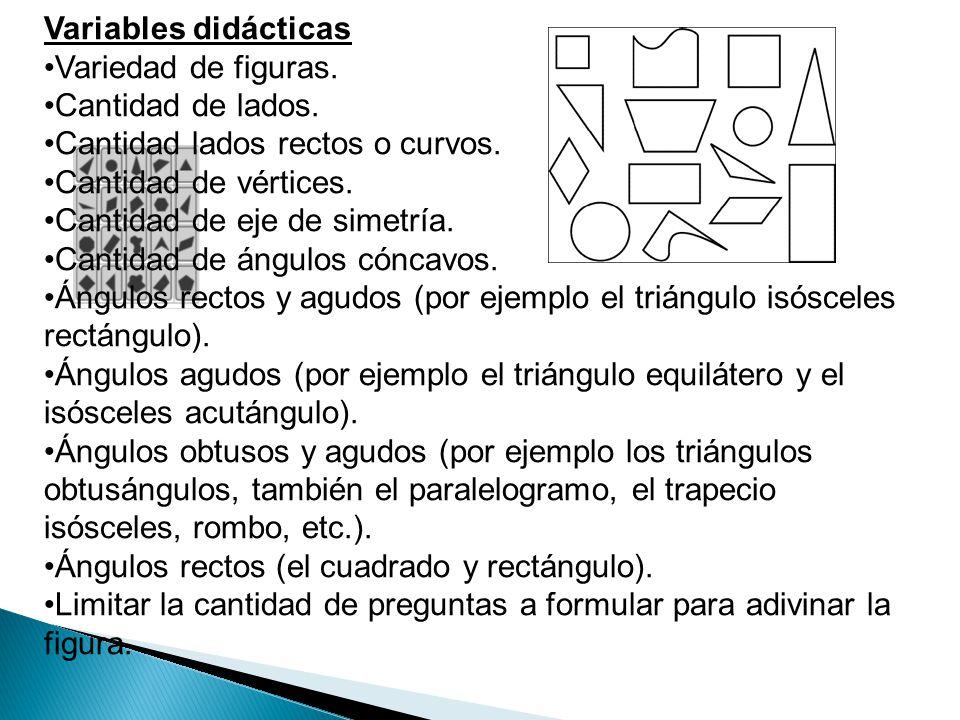 Variables didácticas Variedad de figuras. Cantidad de lados. Cantidad lados rectos o curvos. Cantidad de vértices. Cantidad de eje de simetría. Cantid