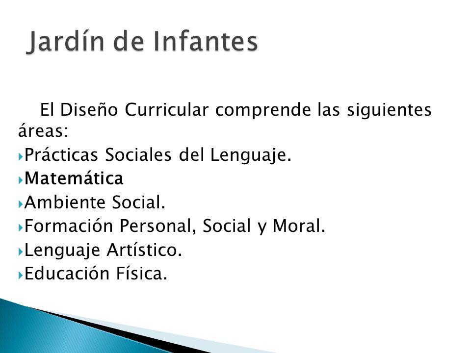El Diseño Curricular comprende las siguientes áreas: Prácticas Sociales del Lenguaje. Matemática Ambiente Social. Formación Personal, Social y Moral.