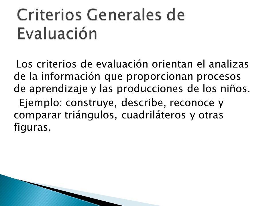 Los criterios de evaluación orientan el analizas de la información que proporcionan procesos de aprendizaje y las producciones de los niños. Ejemplo: