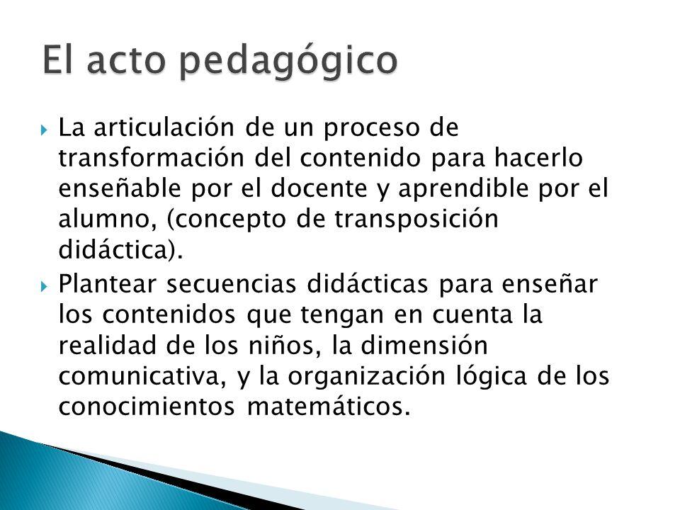 La articulación de un proceso de transformación del contenido para hacerlo enseñable por el docente y aprendible por el alumno, (concepto de transposi